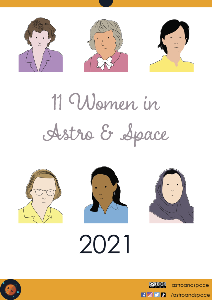 Illustrations that show the diversity of women in astronomy, astrophysics, and space sciences.