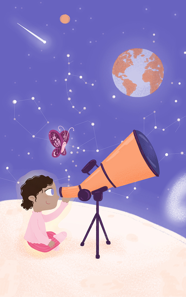 Why is the moon following us? by Maria Rodriguez